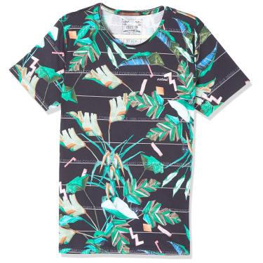 Colcci Camiseta Slim Full Print: Folhas Neon, M, Marinho/Azul/Verde/Rosa/Laranja/Off/Marrom/Cinza