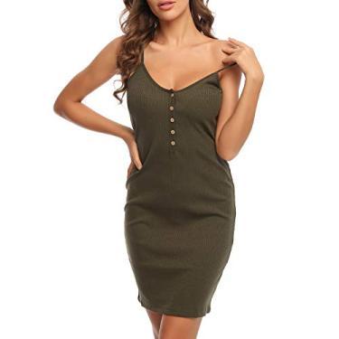 MACLLYN Vestido feminino básico de malha canelada sem mangas com decote em V, Verde, Medium