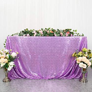 Imagem de Toalha de mesa retangular lavanda lantejoulas toalha de mesa de Natal 127 cm x 203 cm, capa de mesa de lantejoulas roxo claro com glitter para decoração de mesa de café