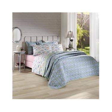 Imagem de Jogo de cama duplo casal 150 fios linha Prata estampa Angela Rosa - Santista