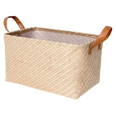 Imagem de Cesto de armazenamento de vime Rústico feito à mão Cesto de lavanderia retangular para armazenamento de brinquedos infantis organizador de roupas com alça 26 x 21 x 16 cm