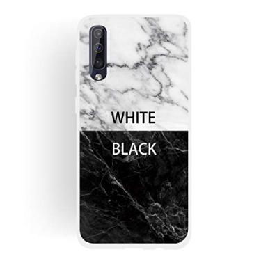"""Capa Grandcase para Galaxy A50, ultrafina, gel de silicone [design de mármore] borda fosca absorção de choque capa de proteção TPU macio para Samsung Galaxy A50 6,5"""" - Preto + Branco"""