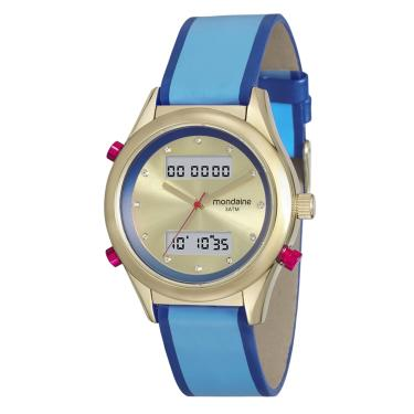 5b6b2675bcd Relógio Mondaine Feminino Caixa de Metal Pulseira de Couro - AZUL
