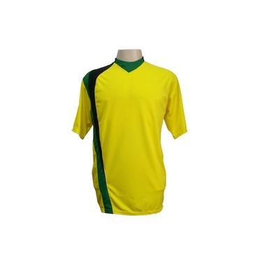 Jogo de Camisa com 14 unidades modelo PSG Amarelo/Preto/Verde +