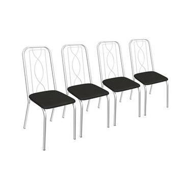 Jogo De 4 Cadeiras Viena Cromada De Metal C072 Crome