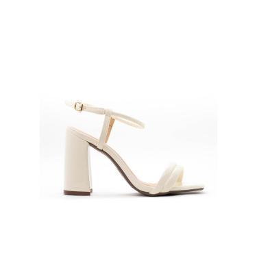 Sandália Salto Bloco 10cm Verniz Marfim CBK  feminino