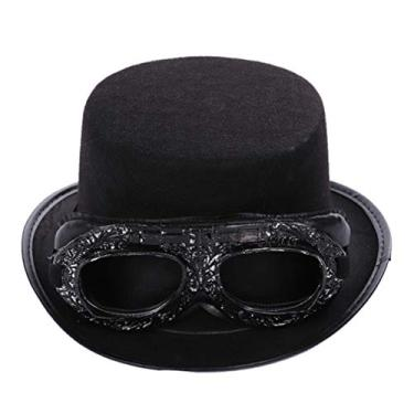 Imagem de NUOBESTY Chapéu Steampunk vintage para óculos, chapéu gótico mágico gótico, chapéu fantasia para mulheres, homens, acessórios para fantasia (preto)