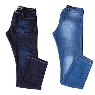 Kit com Duas Calças Masculinas Jeans e Sarja com Lycra - Jeans Escuro e Jeans Claro - 42