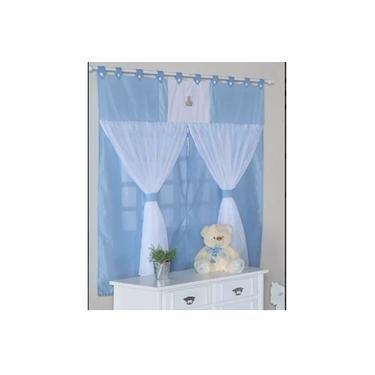 Cortina Para Quarto De Bebê Menino C/ Borsado Charles Azul