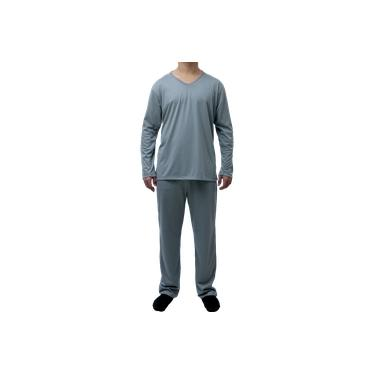 Pijama Longo Adulto Masculino Blusa Manga Comprida E Calça Cinza