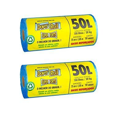Kit com 2 Sacos para lixo Dover-Roll Super Forte, 50 Litros, azul, Rolo com 20 Sacos