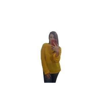 Blusa Bia Comprida Feminina Básica Trico Inverno Frio Amarelo