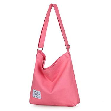 Covelin Bolsa de ombro feminina retrô tamanho grande de lona Hobo transversal bolsa casual, Light Coral