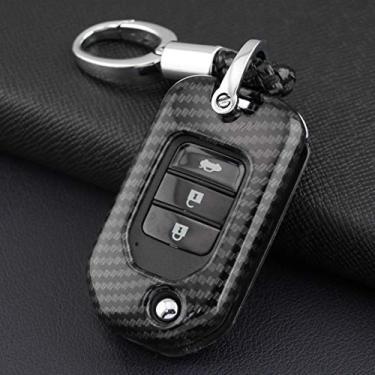 Capa de chave de carro de fibra de carbono ABS capa remota adequada para Honda Accord Civic CR-V (capa com chaveiro)