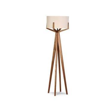 Luminária Abajur De Chão Tripé Em Madeira E Cúpula Linho Casa Anelli Design