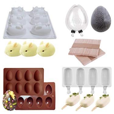 Moldes de silicone para ovos de Páscoa, molde de ovo de Páscoa, molde de silicone de ovo, molde de silicone de coelho para bombas de cacau e cascas de chocolate a ovos quebráveis - preencha com peeep, doces, bolo/Marshmallows (ZH-2)