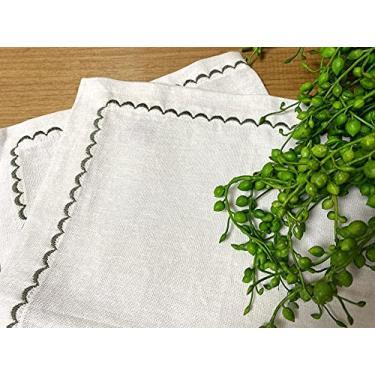 Imagem de Jogo americano linho branco e ponto bordado verde oliva