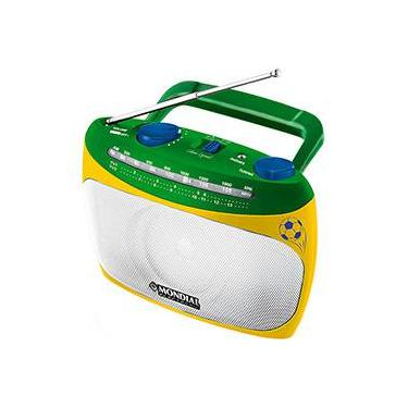 Rádio Portátil Mondial RP-02 AM/FM  com Sincronizador de Canais de TV - Verde e Amarelo
