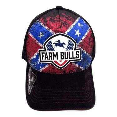 Boné Farm Bulls Individual De Aba Curva Azul Com Vermelho Fechamento Em Snapback E Telinha Original 035
