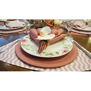 Imagem de Jogo americano para mesa redonda chevron e rosa vintage
