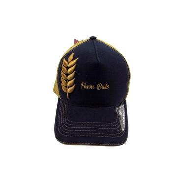 Boné Farm Bulls Individual De Aba Curva Azul Com Dourado Fechamento Em Snapback E Telinha Original 026