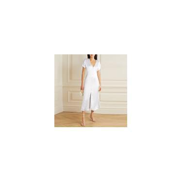 Imagem de Vestido feminino de verão manga curta maxi cetim seda decote em V festa elegante casual dividido vestido camisa longa plus size Branco S