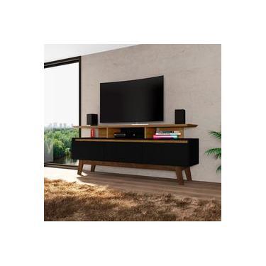 Rack Rubi Retrô para TVs até 60 Polegadas 2 Portas Cinamomo Preto Fosco Bechara