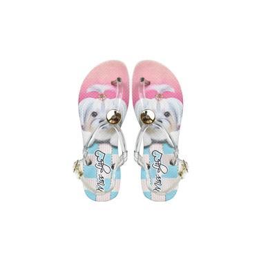 Sandália rasteira rosa feminina estampada com cachorrinha Shih-tzu
