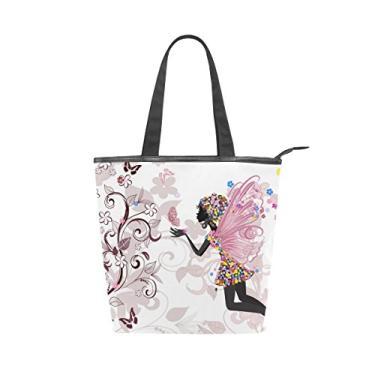Bolsa feminina durável de lona com flor e borboletas de fadas grande capacidade sacola de compras bolsa de ombro