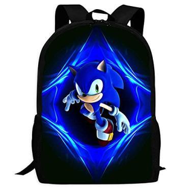 Imagem de Mochila Fashion Sonic-The-Hedgehog resistente à água Mochila escolar para meninos e meninas, Viajar, Preto, ONE_SIZE