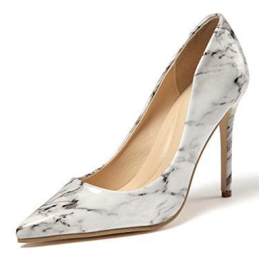 Imagem de LIURUIJIA Sapato feminino moderno fechado bico fino salto stiletto marmorizante sem cadarço sapato social para festa de trabalho, Branco, 9