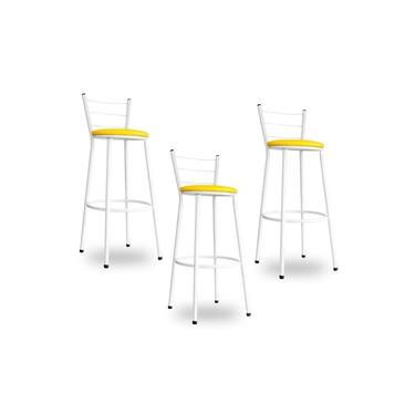 Kit 3 Banquetas Bistrô Aço Em Pintura Epóxi Branca Com Assento Amarelo