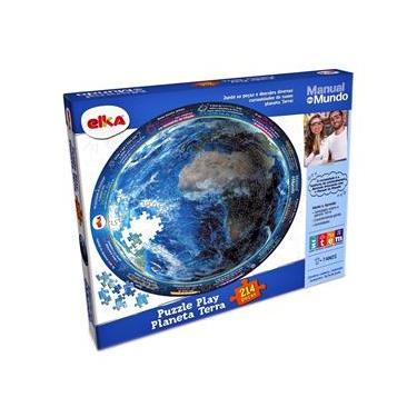Imagem de Puzzle Play Planeta Terra 214 Peças Manual Do Mundo  Elka