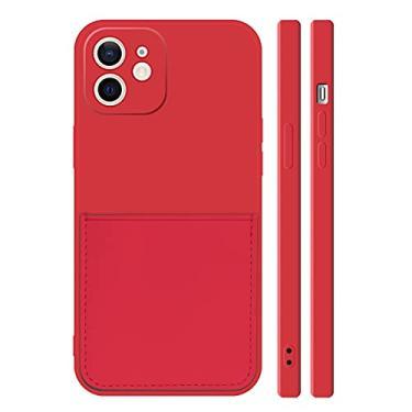 Ffish Capa carteira para iPhone 8/iPhone 7 com suporte de cartão, capa de proteção total de borracha fina, vermelha