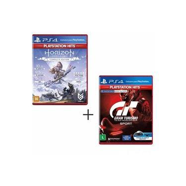 Jogo Horizon Zero Dawn Complete Edition Hits para PS4 + Jogo GT Sport Hits para PS4