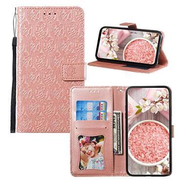 JZ [Flor de ratã] Capa carteira para Samsung Galaxy J7 2017/Halo/J7 V/J7 Prime/J7 Sky Pro/J7 Perx/On7 Capa protetora de couro PU com [alça de pulso] - Rosa
