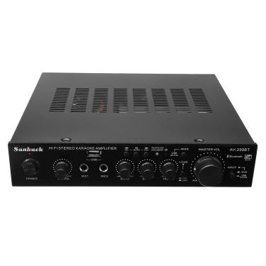 Sunbuck AV-299BT 200 W HIFI Bluetooth Amplificador de Potência Estéreo Controle Remoto USB Entrada de Microfone FM Banggood