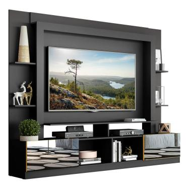 Imagem de Rack C/ Painel E Suporte Tv 65' Portas C/ Espelho Oslo Multimóveis Preto/Amarelo
