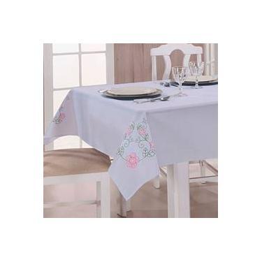 Imagem de Toalha De Mesa Bordada 2,20m X 1,40m Dália Branco E Pink
