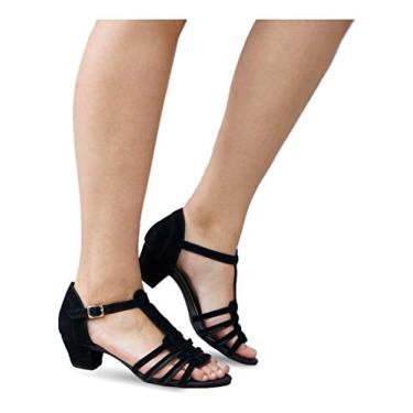 Sandália Feminina Salto Baixo Grosso Lilha Shoes 20440 (34, Preto Nobuck)