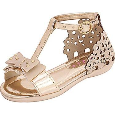 Sandália Plis Calçados Florzinha Marfim com Dourado