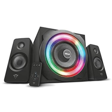 Caixa de Som com Illuminação RGB Ajustável 2.1 120W e Subwoofer Compatível com PC, Portátil, Smartphone e Tablet - GXT 629 Tytan - Trust