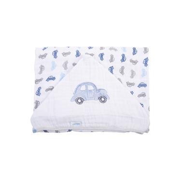 Toalha de Banho Soft Baby Joy 80cm x 90cm C/Capuz Bordado Fusquinhas