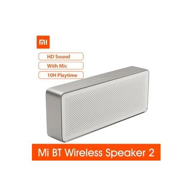 Xiaomi Mi BT Speaker Square Box 2 Estéreo portátil HD Qualidade de som Soundbox Baixo Alto-falantes Música Audio Player Amplificador de música V4.2 1200mAh Aux Line Line-in Hands-f