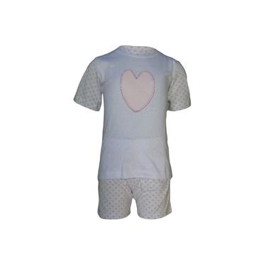 Pijama Infantil Manga Curta Coração Bordado 100% algodão