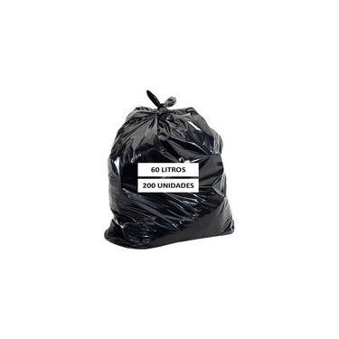 Saco De Lixo Reforçado 60 Litros Com 200 Unidades Preto