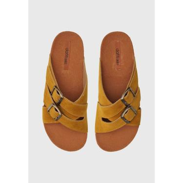 Rasteira Birken DAFITI SHOES Transpasse Amarelo DAFITI SHOES TN 150 feminino