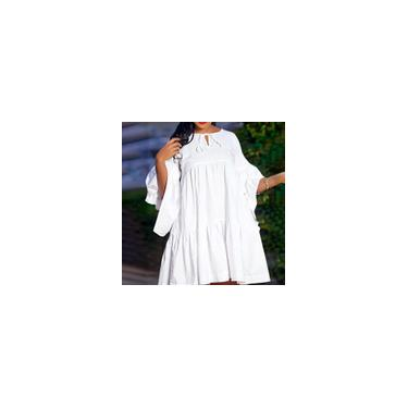Imagem de Moda feminina plissada vestido casual S-5XL elegante cor sólida manga 3/4 O pescoço vestidos midi Branco L