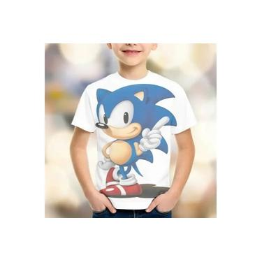 Camiseta Sonic Mod 04 Estampa Total Frente Infantil