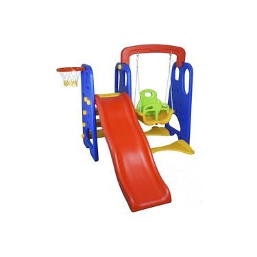 Imagem de Playground Infantil 3 em 1 Escorregador Balanço Cesta Basquete Brinquedo Importway IWPI-3X1 Colorido